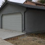 View of a detached garage